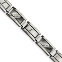 Chisel Stainless Steel Textured and Polished with Diamonds 8.5 Inch Bracelet - china
