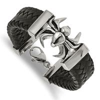 Chisel Stainless Steel Polished Antiqued Black Leather Spider Bracelet - china