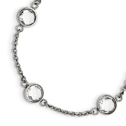 Chisel Stainless Steel Polished with Glass with 1.25 Inch Extension Bracelet