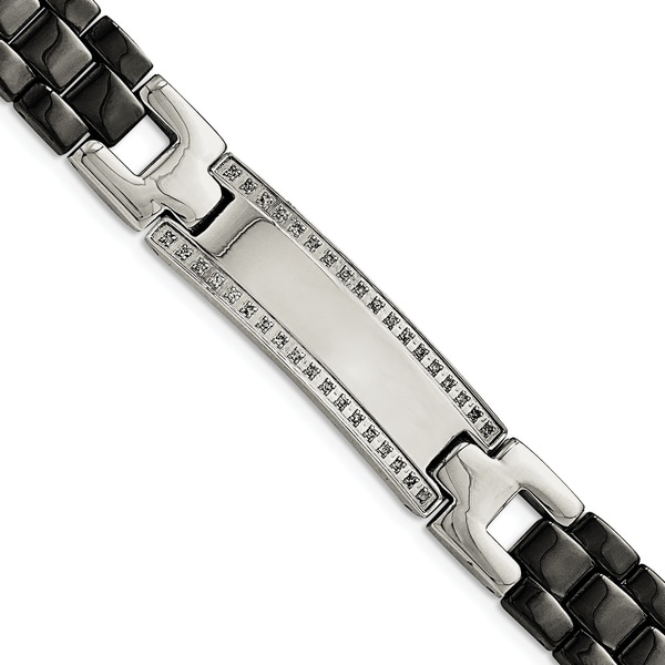 167512f3247d1 Chisel Stainless Steel Ceramic Polished 1 4 cttw Diamond 8.25 Inch Bracelet