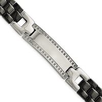 Chisel Stainless Steel/Ceramic Polished 1/4 cttw Diamond 8.25 Inch Bracelet - china