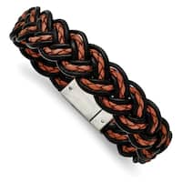 Chisel Stainless Steel Brushed Black and Orange Woven Leather Bracelet - china