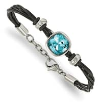 Chisel stainless steel Polished Blue Glass Leather with 1 Inch Extension Bracelet - china
