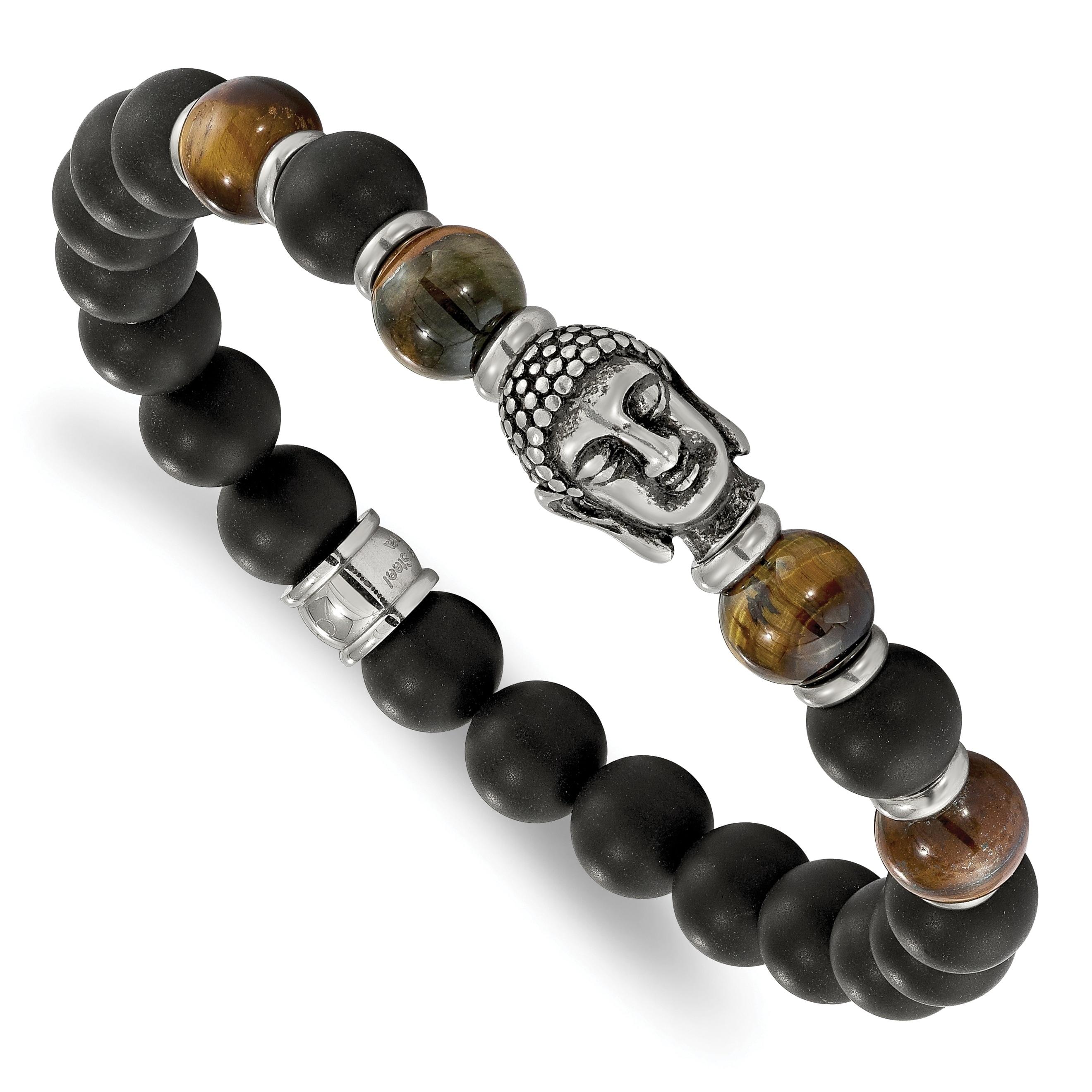 Black Agate Wrist Buddhism Lotus Buddhist Prayer Beads Stone Stretch Bracelet