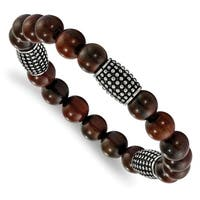 Chisel Stainless Steel Polished and Antiqued with Wooden Beads Stretch Bracelet - china