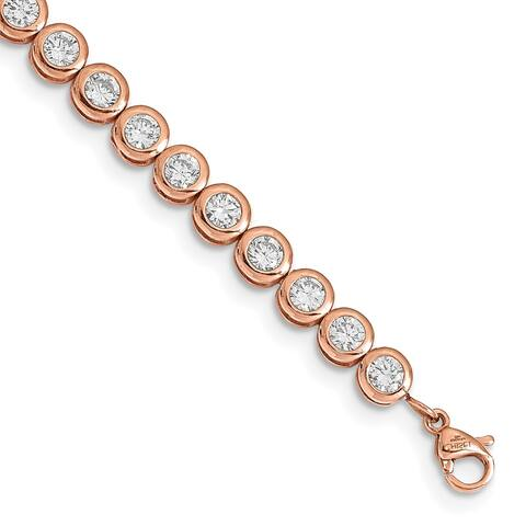 Chisel Stainless Steel Rose IP-plated Polished Cubic Zirconia Tennis with 1 Inch Extension Bracelet