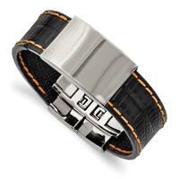 Chisel Stainless Steel Shiny Polished Plate Black with Orange Stitching Bracelet - china