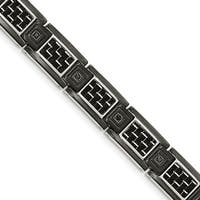 Chisel Stainless Steel Black IP-plated with Black Carbon Fiber Inlay and CZ Bracelet - china