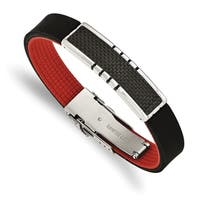 Chisel Stainless Steel Polished Carbon Fiber Inlay Black and Red Rubber ID Bracelet - china