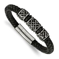 Chisel Stainless Steel Antiqued and Black IP-plated Bead Braided Leather Bracelet - china