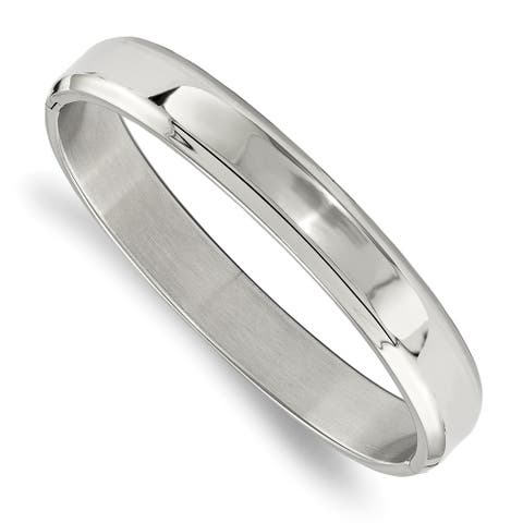 Chisel Stainless Steel Polished Hinged Bangle