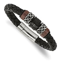 Chisel Stainless Steel Polished and Antiqued Black IP-plated Brown IP-plated Black Rubber Black Leather Bracelet - china