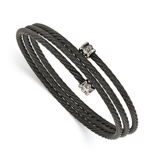 Chisel Stainless Steel Black IP-plated Wire Adjustable with CZs Wrap Bangle - china