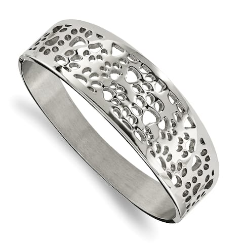 Chisel Stainless Steel Polished Paw Print Cut-out Hinged Bangle