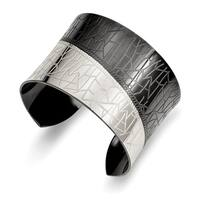 Chisel Stainless Steel Polished Black IP-plated Cuff Bangle - china
