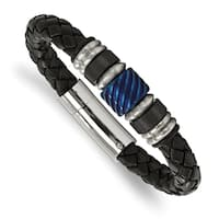 Chisel Stainless Steel Brushed and Polished Black IP-plated Blue IP-plated Black Rubber Black Leather Bracelet - china