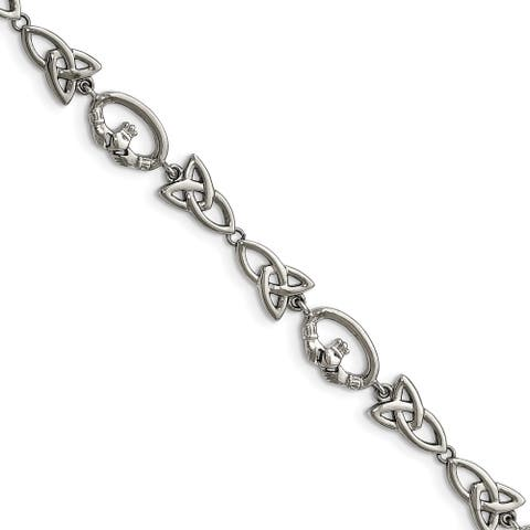 Chisel Stainless Steel Polished Claddagh and Trinity Knot Bracelet