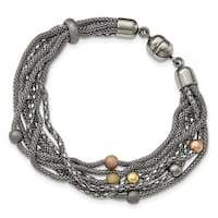Chisel Stainless Steel Rose and Yellow IP-plated Mesh Bracelet - china