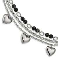 Chisel Stainless Steel Polished With Black and White Agate with Hearts Bracelet - china