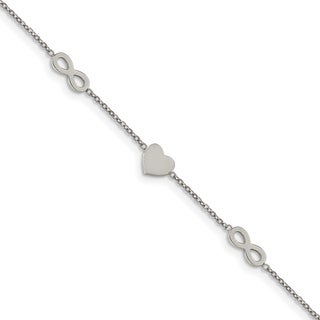 Chisel Stainless Steel Polished 7 Inch with 1 Inch Extension Heart and Infinity Bracelet - china