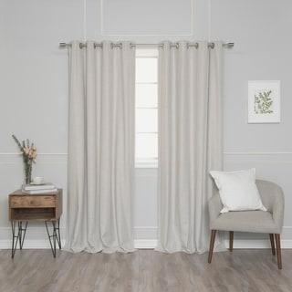 Aurora Home Linen Look Grommet Thermal Room Darkening Curtain Panel Pair