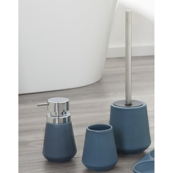Shop Sealskin 3 Piece Bathroom Accessories Set Conical Chrome Blue Porcelain Free Shipping