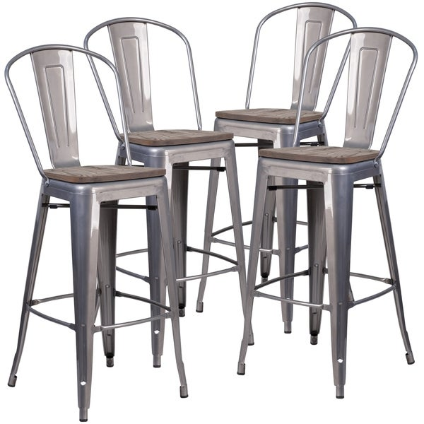 Shop 4 Pk 30 High Barstool With Back And Wood Seat Free Shipping