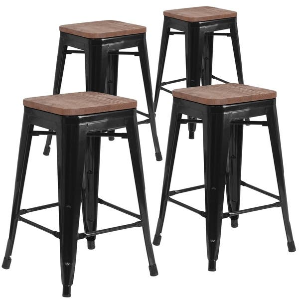 Amazing Shop 4 Pk 24 High Backless Metal Counter Height Stool With Machost Co Dining Chair Design Ideas Machostcouk
