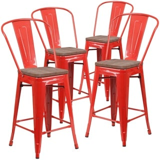 """4 Pk. 24"""" High Metal Counter Height Stool with Back and Wood Seat"""