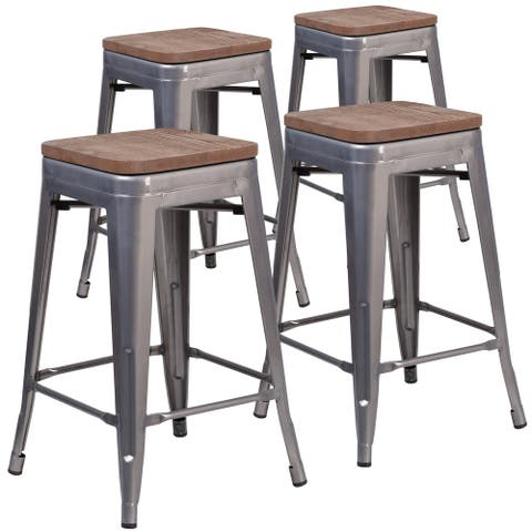 Backless 24-inch Clear Coated Metal Counter Height Stool (Set of 4)