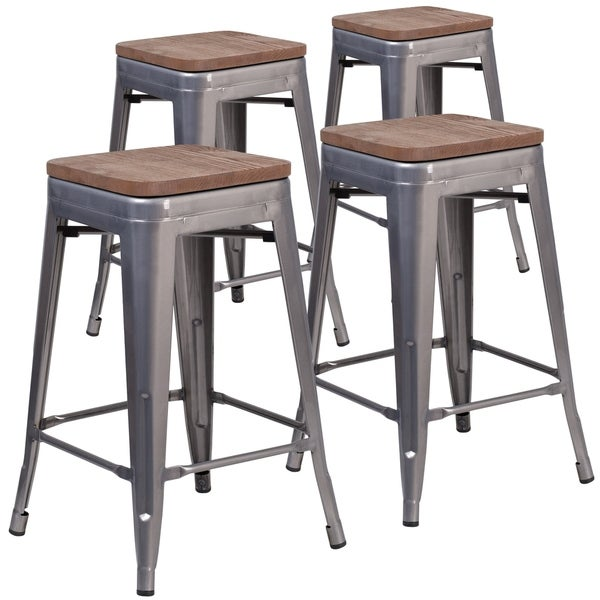 Lancaster Home 4 Piece High Backless Counter Height Stool Set With Square Wood Seats