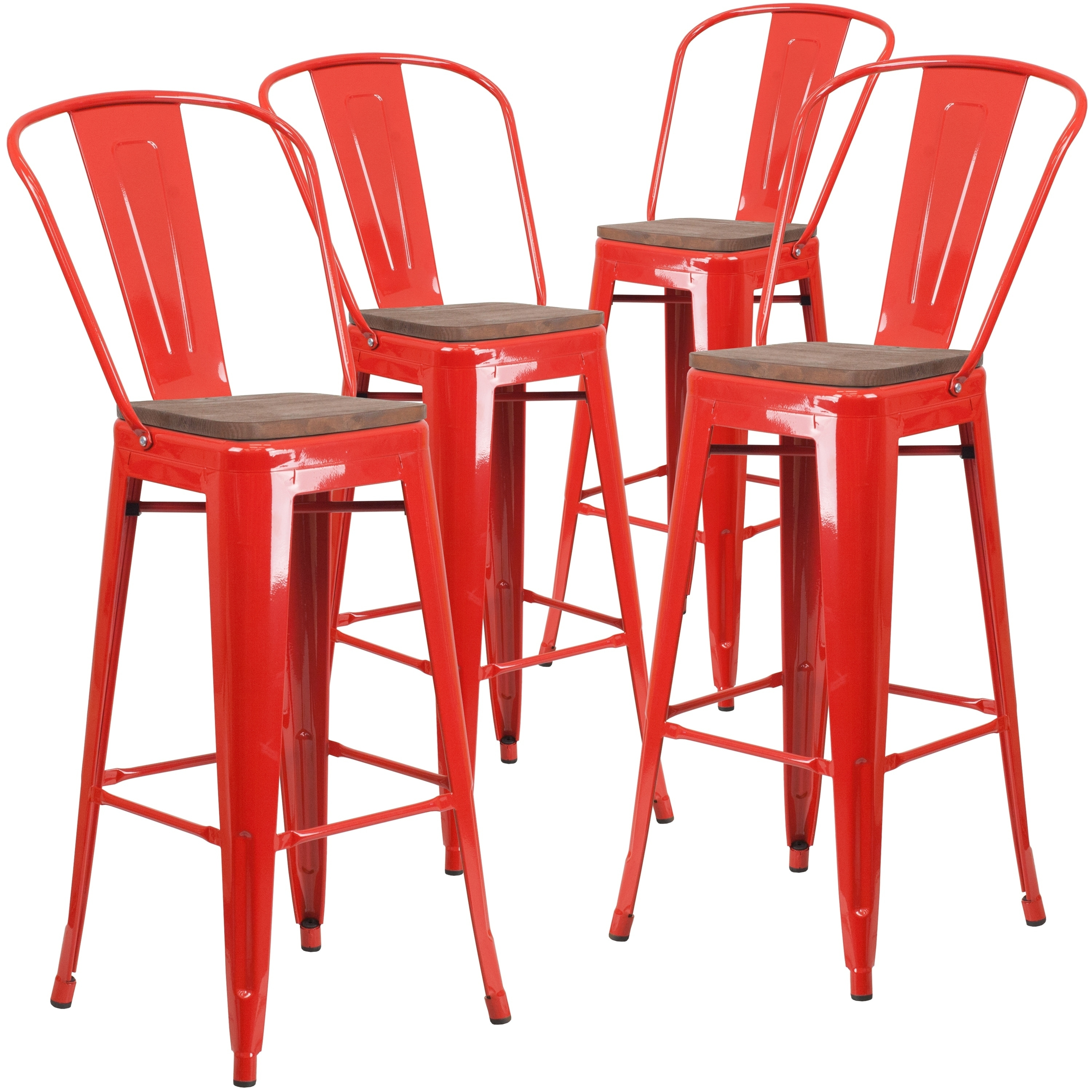 4 Pk 30 High Metal Barstool With Back And Wood Seat Ebay