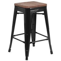 "24"" High Backless Metal Counter Height Stool with Square Wood Seat"