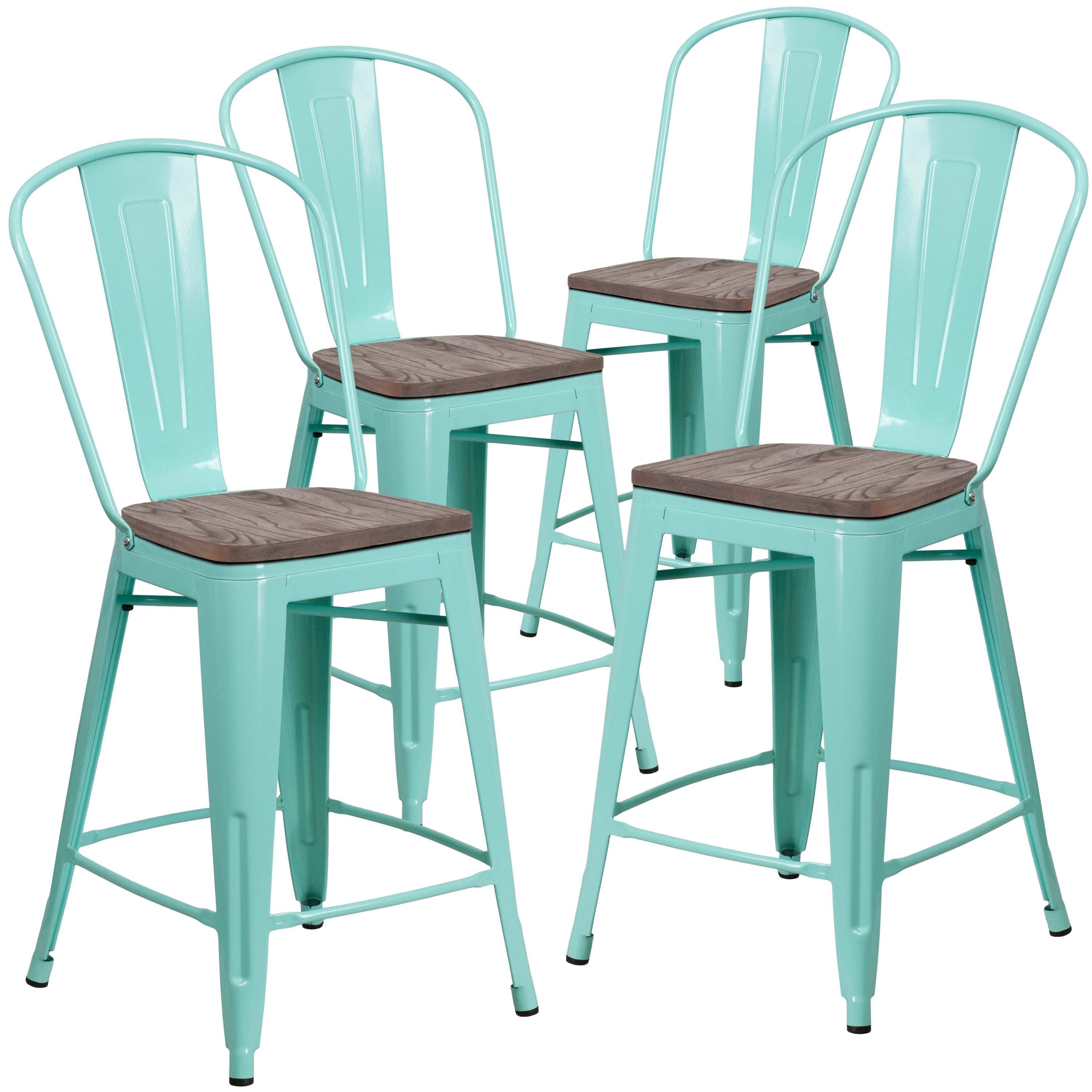 4 Pk 24 High Metal Counter Height Stool With Back And Wood Seat Ebay