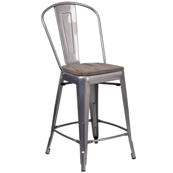 Shop 24 High Counter Height Stool With Back And Wood Seat Free