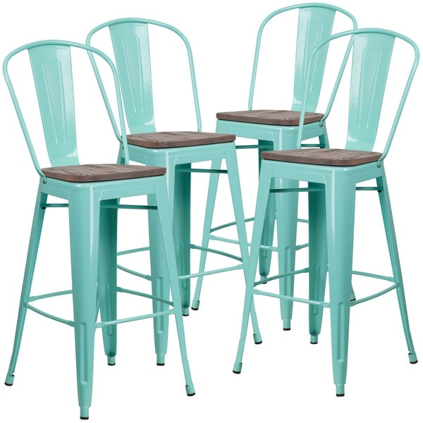 Shop 4 Pk 30 High Metal Barstool With Back And Wood Seat Free