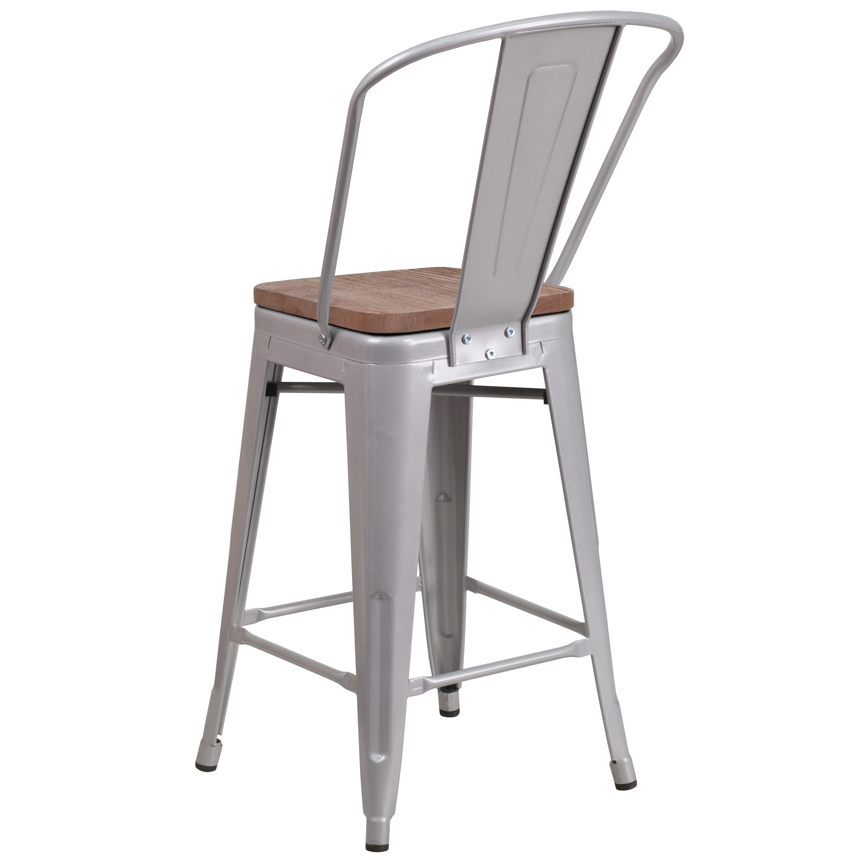 24 High Metal Counter Height Stool With Back And Wood Seat Ebay