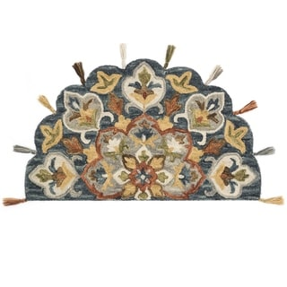 "Hand-hooked Slate/ Rust Multi Floral Hearth Wool Area Rug - 2'3"" x 3'9"" Hearth"