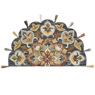 Hand-hooked Slate/ Rust Multi Floral Hearth Wool Area Rug - 2'3 x 4'
