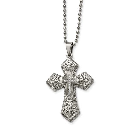Chisel Stainless Steel Polished CZ Fleur de lis Cross Necklace - china