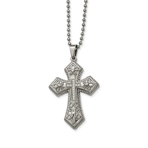 Chisel Stainless Steel Polished Cubic Zirconia Fleur de lis Cross Necklace - china