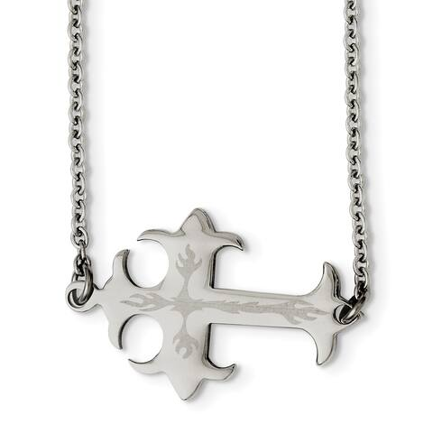 Chisel Stainless Steel Brushed and Polished Sideways Cross Necklace