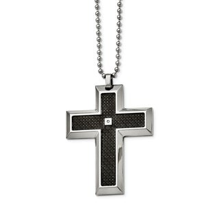 Chisel Stainless Steel Black Carbon Fiber Inlay 01ct Diamond Accent Cross Necklace