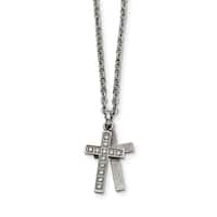Stainless Steel Laser cut CZ Two Piece Cross Pendant Necklace - china