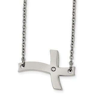 Stainless Steel Fancy Sideways Cross with CZ Necklace - china