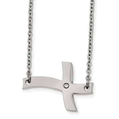 Chisel Stainless Steel Fancy Sideways Cross with CZ Necklace