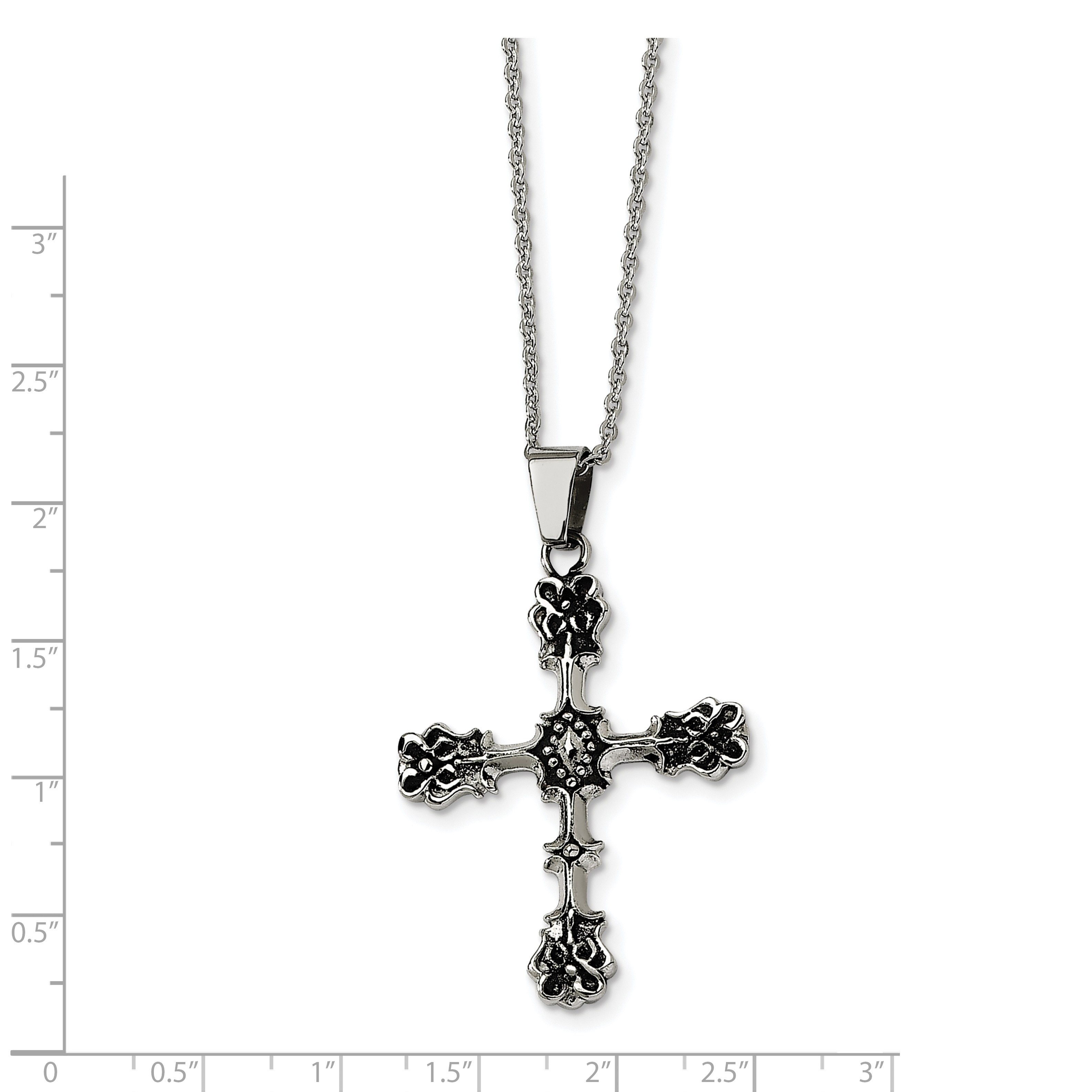 Stainless Steel Antiqued Cross Pendant Necklace 52x33mm 22 Inches