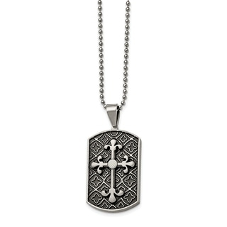 Chisel Stainless Steel Black Enamel and Cross Dog Tag Necklace