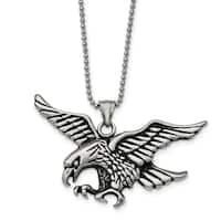 Chisel Stainless Steel Polished and Antiqued Eagle Necklace - china