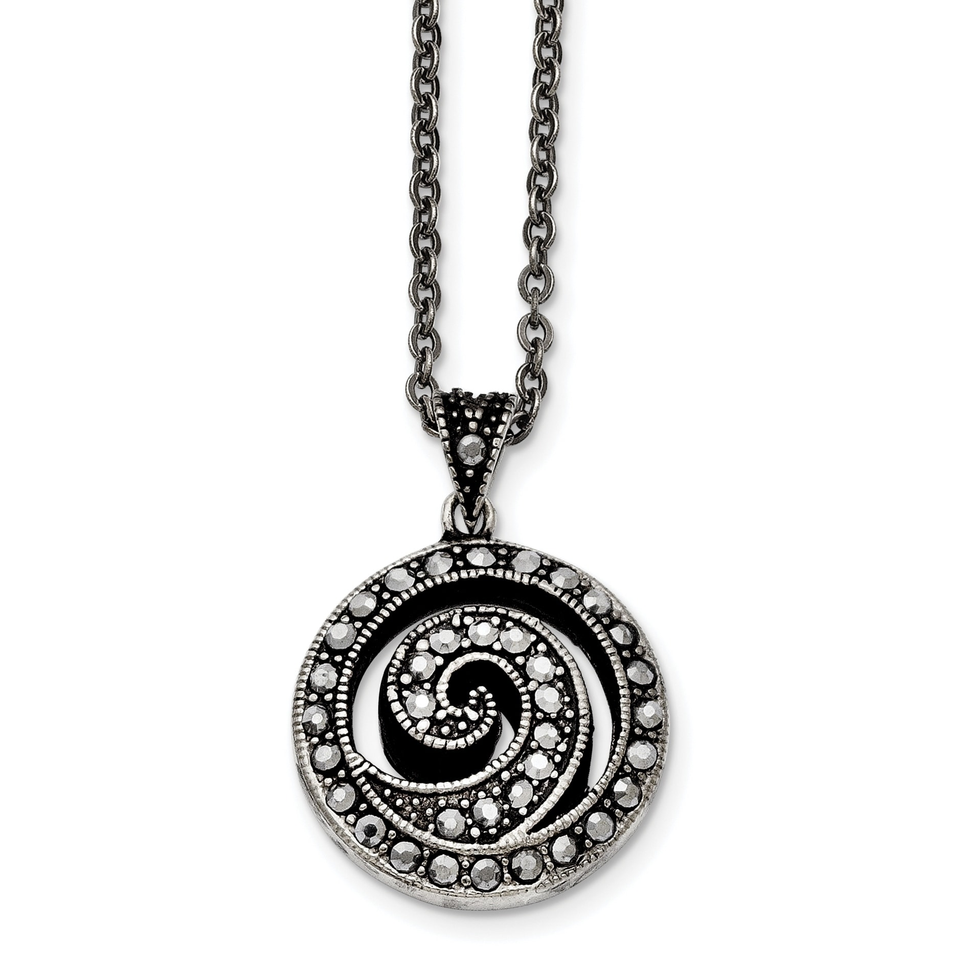 Stainless Steel Polished Fancy Swirl Pendant Necklace